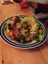 Chicken Skewers, Satay Sauce and Fiery Noodle Salad